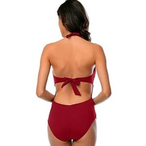 Sports Wear Swim - Red Halter One Piece Cut Out Swimsuit